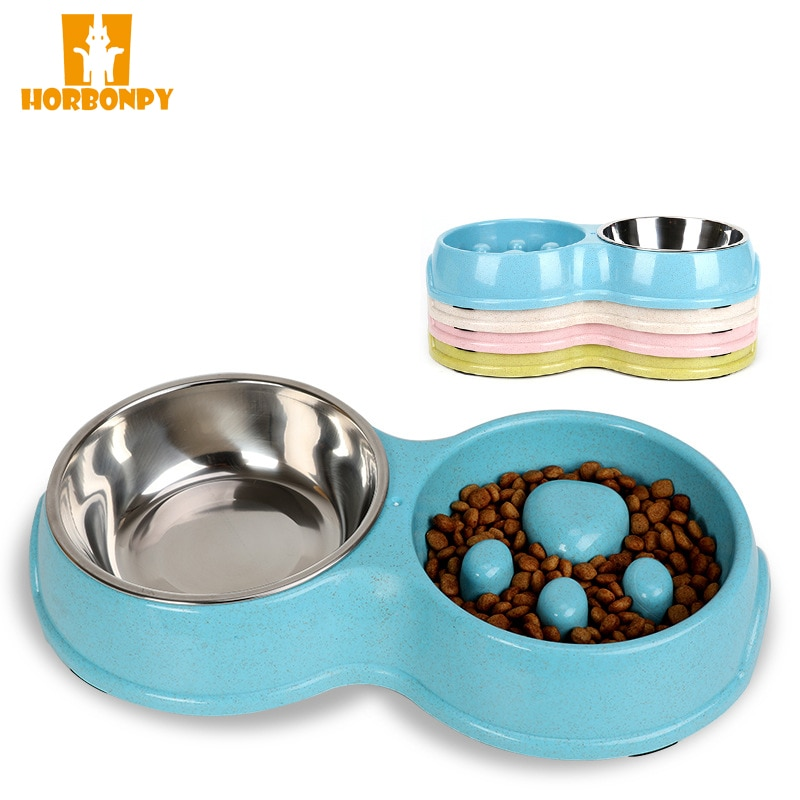 Stain Resistant Steel Dog Pet Twin Bowls Plastic Slow Food Bowls Feeding And Drinking Bowls For Puppy Tiny Dogs  Feeders