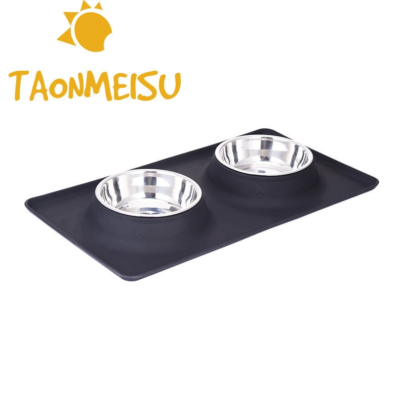Stain Resistant Steel Twin Bowl Comedero Journey Feeding Water Bottle Skid Resistant  Sofa For Pet Dog Clothes Cat Puppy Food Water Dish