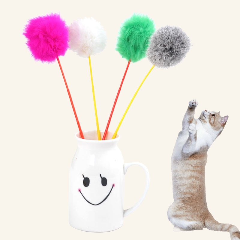 Kitten Pet Cat Toy Wand Teaser Rods Rabbit Fur