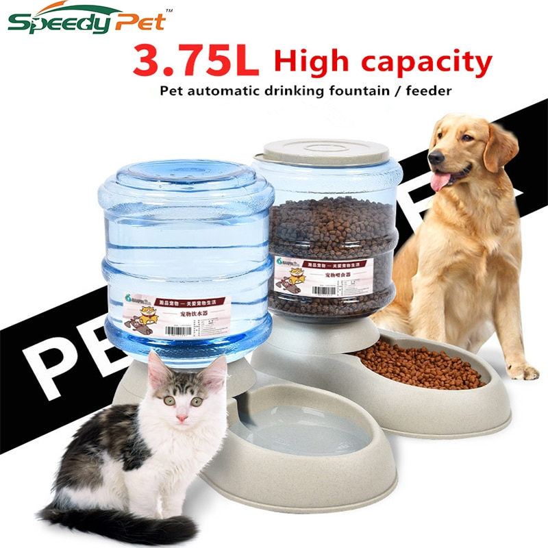 3.75L With Automatic Pet Water Feeder Fountain Self-Dispensing Gravity Dog Cat Water Food Distributing Bowl Pet Feeder And Waterer