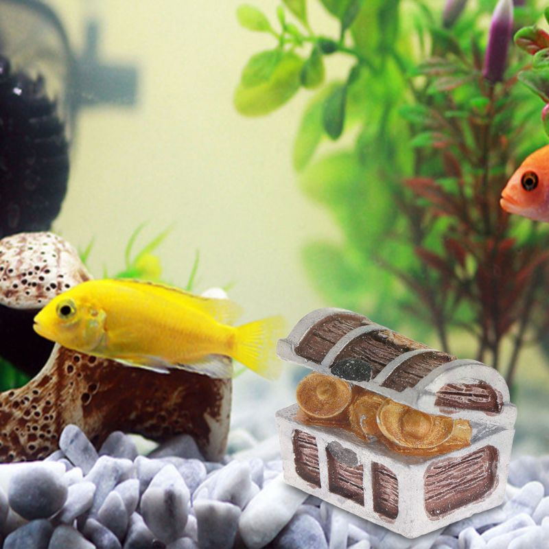 Aquarium Treasure Chest Box Antique Fish Tank Decor Landscape Pirate Gold Coins Fish Decorative Items