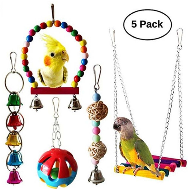 Parrot Toy Bird Cage Swing Hammock Pet Bird Tassel Bell Tassel Toy Macaw Parrot Love Bird Finch Chewing