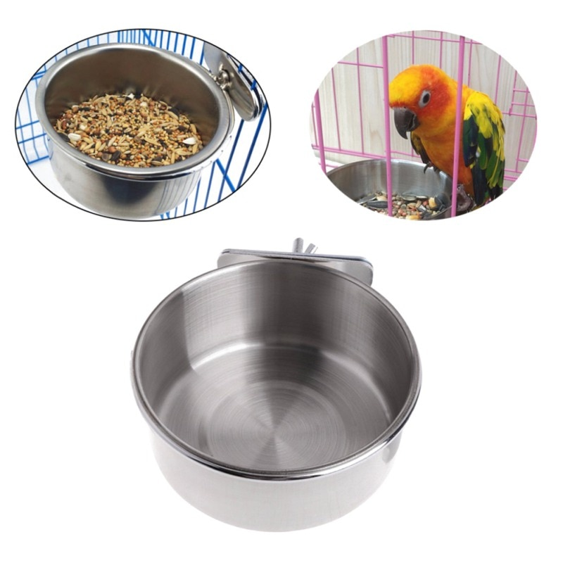 Bird Feeders Parrot Stain Resistant Steel Cups Container