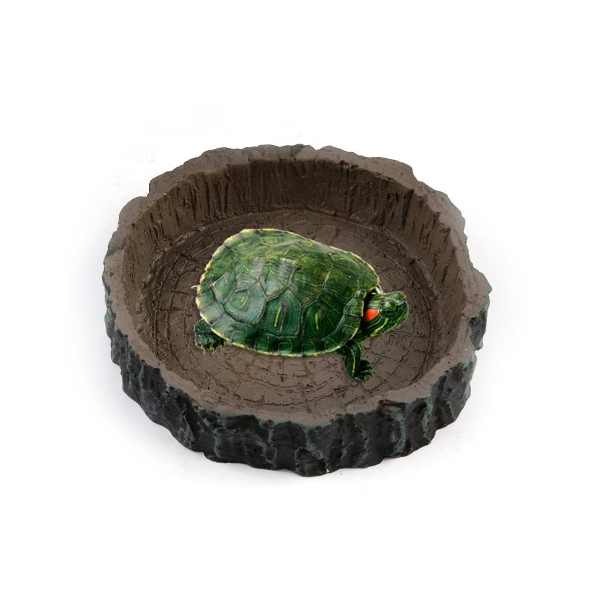 Round Shape Resin Reptile Bowl Water Food Dish Feeder Tortoise Turtle Feeding Tools Supplies For Amphibians Fish Tank Decorations