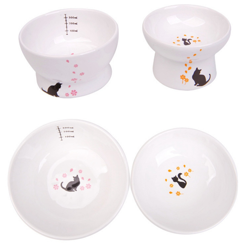 Cat Food Water Ceramic lovely shaped Bowl Protecting Pet Kitten Care Feeding Bowls