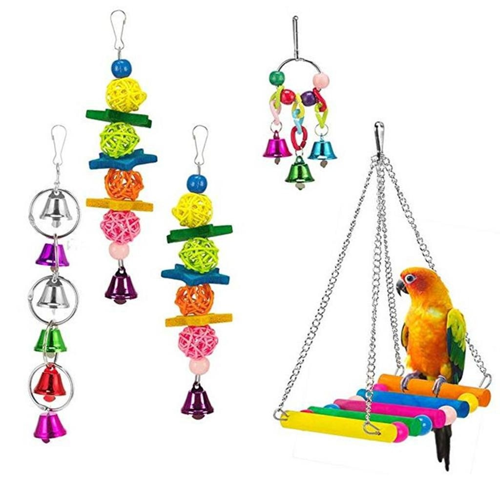 Pet Bird Hanging Colorful Wooden Bridge Chew Cage For Parakeets