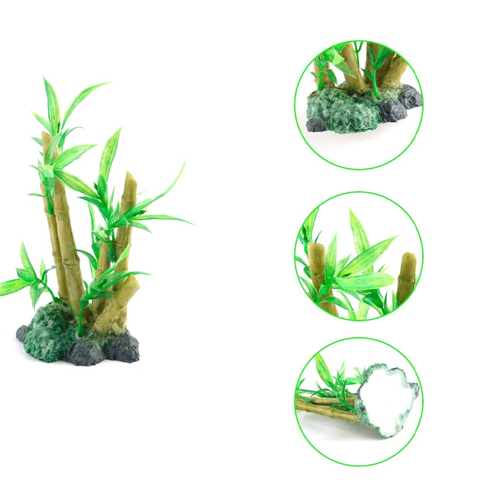 Green Bamboo Plant Vegetation Goldfish Fish Tank Decorations