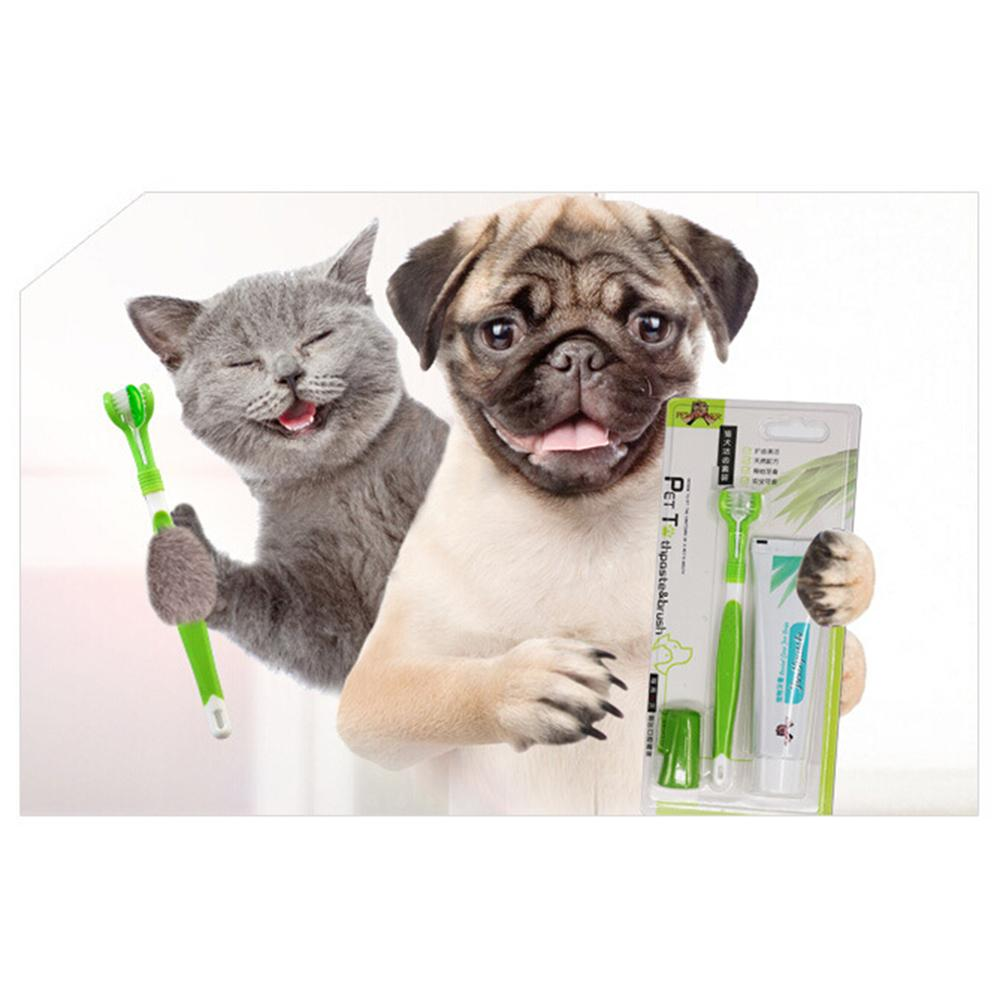 Pet Toothbrush Toothpaste Set Cat Dog Oral Hygiene Teeth Wiping